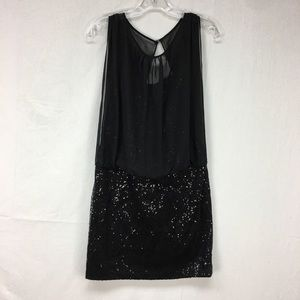 Adrianna Papell black Sequin Sheer Top Dress